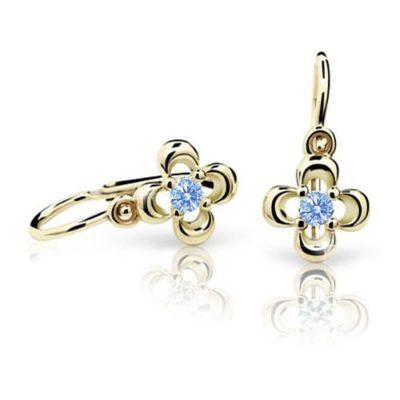 Cutie Zlaté dětské náušnice NC2013-10 Artic Blue bledě modrý kámen žluté zlato