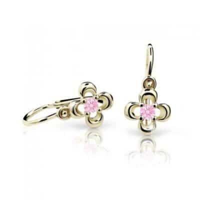 Cutie Zlaté dětské náušnice NC2013-10 Pink růžový kámen žluté zlato