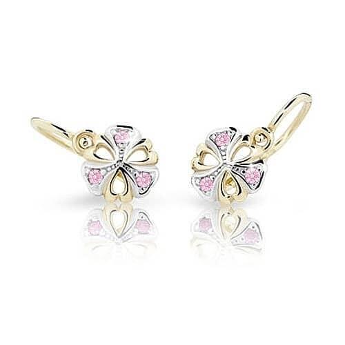 ab93af22d Cutie Zlaté dětské náušnice NC2230-10-10 žluté zlato Pink růžové kamínky