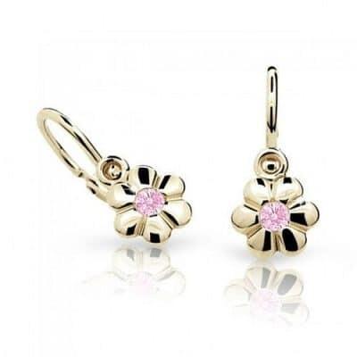 Zlaté dětské náušnice Cutie C1736-10 Y Pink